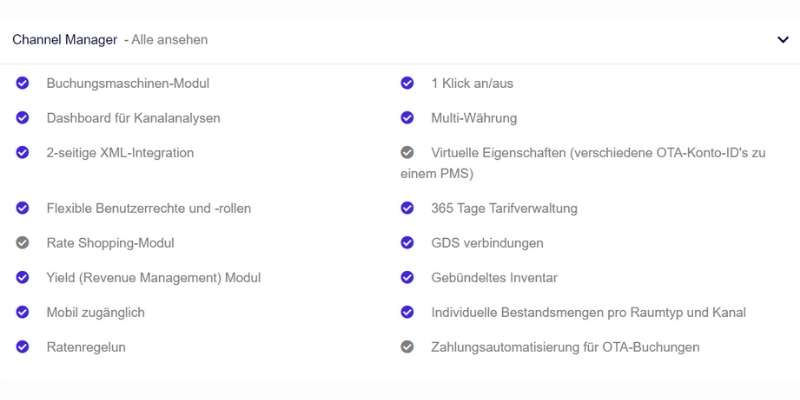Channel Manager Funktionsumfang